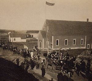 A parade held in West Pubnico to celebrate the end of World War I.