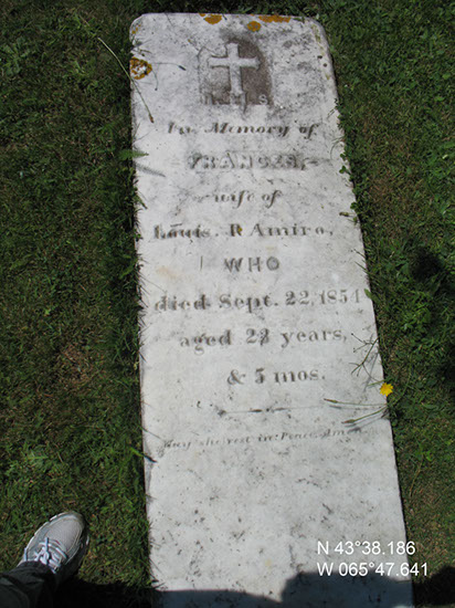 Amiro, Frances (died Sept. 22 1854 aged 23 years and 5 months)