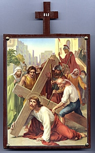 Third Station. Jesus Falls the First time Beneath the Cross.