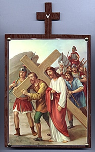 Fifth Station. Simon of Cyrene helps Jesus to Carry the Cross.