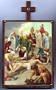 Eleventh Station. Jesus is nailed to the Cross.